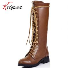 Hot sale 2016 new arrive cross strap girls western boots knee high boots 100% cow genuine leather work brown motorcycle boots-in Knee-High Boots from Shoes on Aliexpress.com | Alibaba Group
