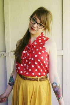 Kelsey looking lovely in the Knots and Dots Top #stylegallery II Shop it here: http://www.modcloth.com/shop/blouses/knots-and-dots-top