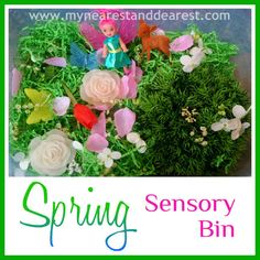 A colorful Spring sensory bin- a great way to discuss & build excitement for the the change of seasons!