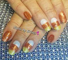 #nails #Glitternails #nailart #nailaddict #nailswag #gelpolish #candycorn #fall #fallnails #halloweennails