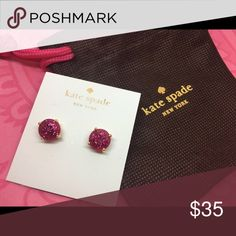 Pink Glitter Gumdrop Post Earrings Kate Spade NEW New on card only in KSNY dust bag. Sorry, no trades!  Discounts with bundles. kate spade Jewelry Earrings