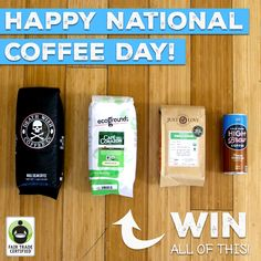 #Win some #coffee for you and a friend in celebration of #NationalCoffeeDay & #FairTrade Month (starts Thursday)! Enter the giveaway here: http://fairtrd.us/1MEQHgv  Courtesy of: @deathwishcoffee, ecoGrounds, @justlovecoffees & High Brew Coffee #giveaway #contest