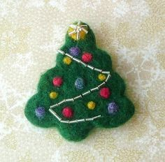 Chistmas Tree Needle Felted Brooch Christmas Gift  Beaded Jewelry Felt Wool Wearable Art  OOAK