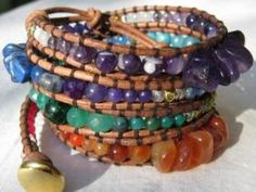 All Seven Chakras Bracelet - 3. Natural Color Leather. Photo:  This Photo was uploaded by miss-jabka. Find other All Seven Chakras Bracelet - 3. Natural ...