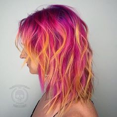Pulp riot - neon pink orange yellow coloured hair curly pastel bright