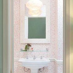 Pink Powder Room with Moorish Style Bone Inaly Mirror