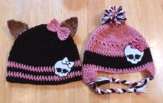 Monster High Crochet hats with wolf ears and pom poms - you can make the skulls out of felt - idea only, no pattern