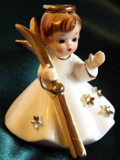 Vtg Josef Originals Angel Figurine Girl Ski Skier Winter Gold Star Original Xmas   eBay