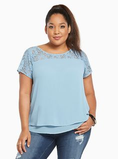 Plus Size Lace Inset Chiffon Layered Top, FADED BLUE