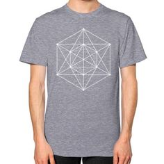Sacred geometry Minimal Hipster Line Art Unisex T-Shirt (on man)