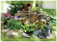 The world's catalog of creative ideas Garden Waterfall, Waterfall Fountain, Water Features In The Garden, Garden Features, Garden Stream, Small Water Gardens, Landscaping A Slope, Goldfish Pond, Diy Pond