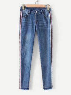 Striped Tape Raw Hem Jeans -SheIn(Sheinside)