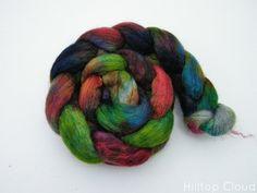 Shetland & Kid Mohair, Hand Dyed Wool Roving (tops), Spinning Fiber, Hipster Rainbow- 100g 2160