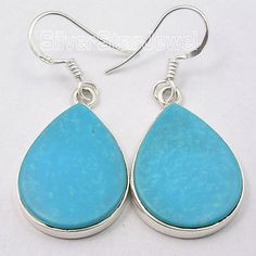 Pure Silver NATURAL TURQUOISE FLAT JEWEL GIRLS' WELL MADE Earrings 4 CM NEW