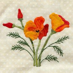 Wildflower block, poppy by Pearl P. Pereira   pattern at P3 Designs