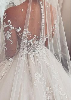 Ball Gown Wedding Dress with Sleeves, Fashion Custom Made Bridal Dresses, Plus Size Wedding dress is part of Wedding dresses lace chiffon etc Back available in lace up or zipper Lining - Dresses Elegant, Pretty Wedding Dresses, Designer Wedding Dresses, Bridal Dresses, Wedding Gowns, Tulle Wedding, Modest Wedding, Best Online Wedding Dresses, Mermaid Wedding