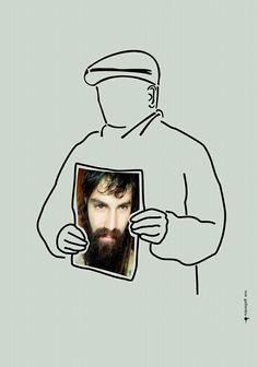 Noe Gaillardou: Julio Jorge López desaparecido el 18 de septiembre de 2006, muestra la foto de   Santiago Maldonado detenido-desaparecido, en la Pu Lof Resistencia Mapuche de Cushamen, prov. de Chubut, Patagonia Argentina el 1 de agosto de 2017