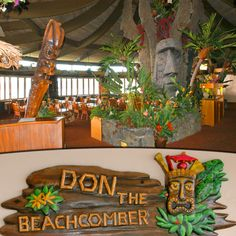 "Don The Beachcomber, Kailua Kona, Big Island, Hawaii - The Restaurant Designed by Tiki architect George ""Pete"" Wimberly, the imposing Polynesian inspired roofline of the Restaurant anchors the exotically tropical theme. Hawaiian music, lush foliage, lava rock, tiki carvings, fountains, and lurking Stone Moai will be your setting for dinner. Waterside tables at sunset with the sound of water lapping the shore. The food is as fabulous as the view and uses fresh local ingredients. The Mai-Tai…"