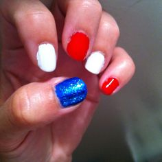 Nails for the forth of July ! Blue nail should have star glitter top coat