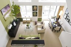 Beige and Green Living Room
