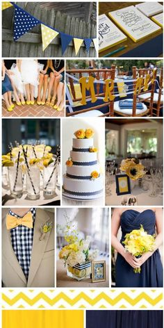 Navy Blue and Yellow Wedding, inspiration board by The Simplifiers | Austin, TX