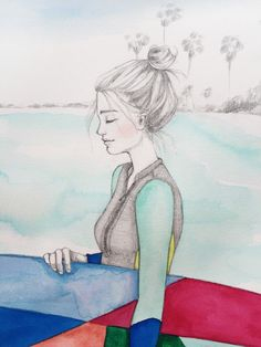 Original watercolor painting of a surfer girl. by OliveTwigStudio