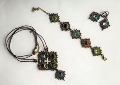 """Parure """"Archipel"""", vert, bronze, rouge, bleu et violet"""
