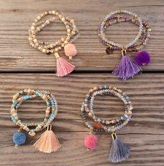 OOAK SET: 3 beaded bracelet in pastel colors with tassel and pompom: