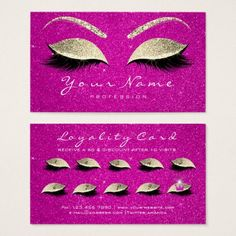 #Beauty Loyalty Card 10 Lash Vivid Pink Gold Crown - #office #gifts #giftideas #business