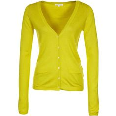 Patrizia Pepe MAGLIA Cardigan ($110) ❤ liked on Polyvore featuring cardigans, tops, yellow, sweaters and women's tops
