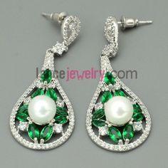 Nice zirconia beads decorated pendant drop earrings