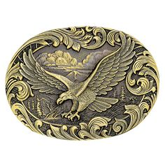 Soaring Eagle Heritage Attitude Belt Buckle (60803C) - Attitude Buckles - Buckles | Montana Silversmiths