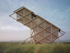 Wood Architecture - Bird Watching Tower, by GMP Architecture, Graswarder, Germany, resembles a bird resting. Cantilever Architecture, Architecture Design, Wooden Architecture, Organic Architecture, Landscape Architecture, Landscape Design, Pavilion Architecture, Residential Architecture, Contemporary Architecture