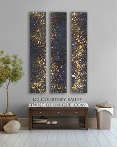 Night sky Abstract painting - Stars 4 panel CUSTOM AcryliCrete Wall Art via Etsy.:
