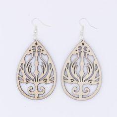 Amazon.com: Beige Wood Phoenix Earrings Statement Natural Tan Teardrop Flame Filigree Antique Bronze Silver Featherweight: Handmade