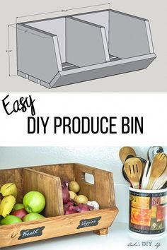 Great idea Easy DIY Vegetable storage Bin with divider Perfect beginner woodworking project Scrap wood project idea kitchen organization solution for pantry Kids Woodworking Projects, Scrap Wood Projects, Diy House Projects, Woodworking Furniture, Woodworking Shop, Woodworking Plans, Wood Furniture, Woodworking Techniques, Popular Woodworking