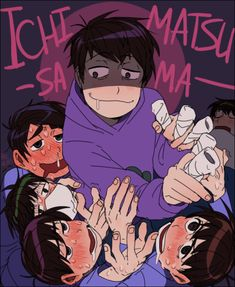 All fanart of this scene looks bad. Osomatsu-san- Osomatsu, Karamatsu, Choromatsu, Ichimatsu, Jyushimatsu, and Todomatsu #Anime「♡」