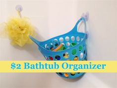 Bathtub organizer from Dollar Tree. Thinking about doing this since I share a bathroom with an 8 year old.... -alyisa
