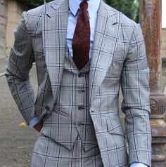 British Style Suits For Men Formal Occasion Wear Wide Lapel Windowpane Tuxedos Gentleman Mode, Gentleman Style, Sharp Dressed Man, Well Dressed Men, Mens Fashion Suits, Mens Suits, Men's Fashion, Mode Costume, Look Man