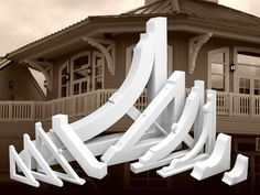 Exterior decorative brackets for arts and crafts details - these are made of pvc for low maintenance Corbels Exterior, Exterior Trim, Porch Brackets, Decorative Brackets, Steel Roofing, Gabel, Vinyl Siding, Window Boxes, Diy Home Improvement
