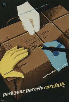 Hams Umger 1950 poster wrapping parcels GPO