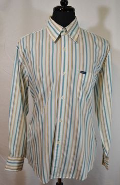 FACONNABLE Men's STRIPE Long Sleeve Dress Shirt Size L White Teal NICE #Faonnable