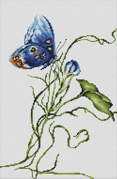 Emotion Butterfly Cross Stitch Kit This is an excellent cross stitch kit for any avid Aurelian, from the speckled dots on the butterfly's wings to the twirl of the plant root. Small Cross Stitch, Butterfly Cross Stitch, Cross Stitch Rose, Cross Stitch Animals, Cross Stitch Flowers, Butterfly Kit, Cross Stitching, Cross Stitch Embroidery, Embroidery Patterns