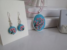 Polymer Clay Necklace and earrings cherry blossom/sakura by Fernanda McCormack