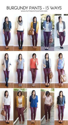 More outfit ideas for my maroon pants. Putting Me Together: 15 Ways to Wear Burgundy or Maroon Pants Maroon Pants Outfit, Maroon Jeans, Olive Pants Outfit, Colored Jeans Outfits, Outfits With Olive Pants, Burgandy Skinny Jeans Outfit, Colored Denim, Brown Pants Outfit For Work, Green Jeans Outfit