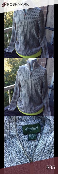 Eddie Bauer Gray Quarter Zip Ribbed Sweater Eddie Bauer Gray Quarter Zip Ribbed Sweater.  Size Men's XL. Beautiful classic sweater. Great for Fall parties or going to the pumpkin patch. Eddie Bauer Sweaters Zip Up