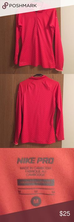 Nike Form fitting quarter zip Nike Pro form fitting quarter zip. Very gently used. Bright pink in color with soft peach polka dots. Great work out top for spring or fall weather outdoors. Nike Tops Sweatshirts & Hoodies
