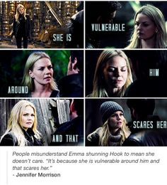 She's vulnerable around him and that scares her.