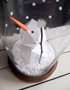 DIY Schneemann, via sodapop-design. Winter Diy, Winter Crafts For Kids, Snowman Christmas Decorations, Diy Snowman, Hygge, Diy Advent Calendar, Christmas Origami, Diy Ribbon, Mason Jar Diy