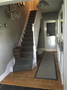 Love this hallway painted in Farrow & Ball 'lamp room grey' ♡ Hallway Colours, Narrow Hallway Decorating, Stairs, House Stairs, Grey Walls Living Room, Grey Hallway, Hallway Flooring, Hallway Colour Schemes, Hallway Paint